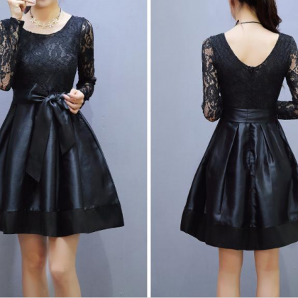 Long Sleeve Lace Stitching Butterfly Knot Dress