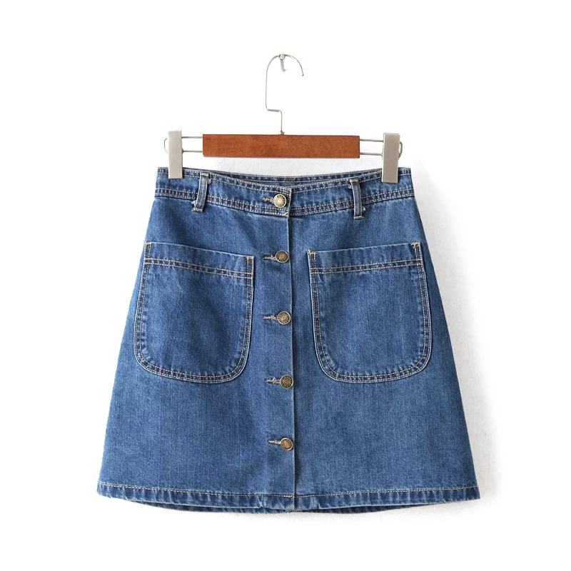 Blue A-Line Denim Skirt with Button Front and Dual Pocket