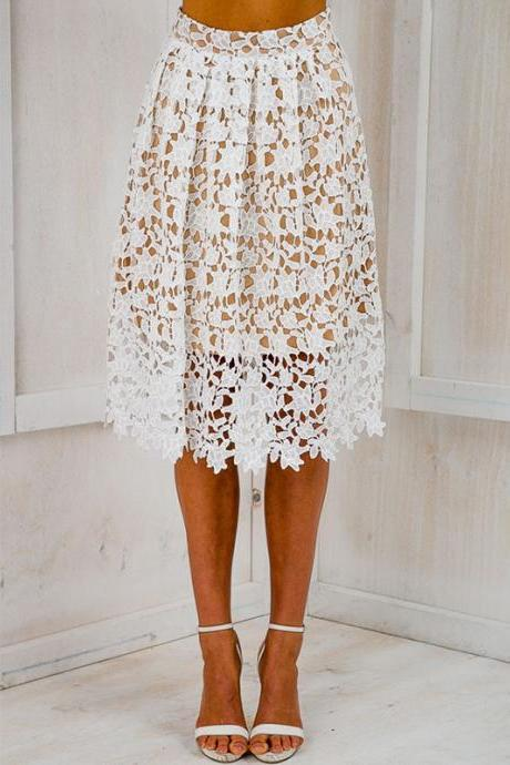 White Lace High Waist Knee Length A-Line Skirt