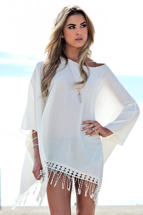 Perspective tassel beach blouse