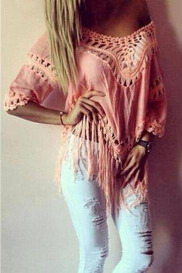 Hand crochet fashion shirt