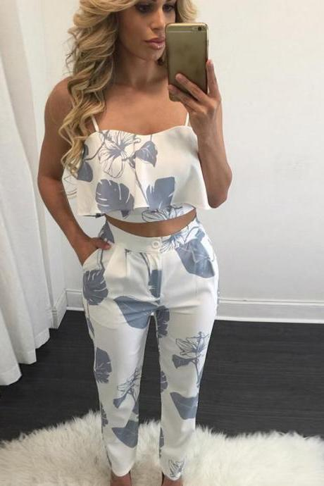 Sexy condole v-neck printed pants two-piece