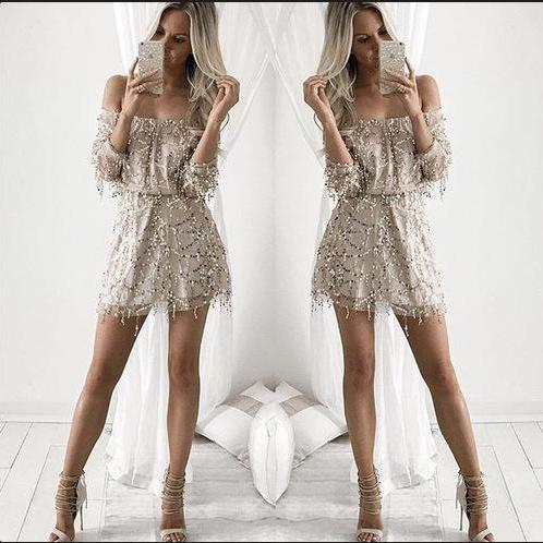 A word shoulder sexy sequined dress
