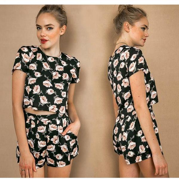 Printing flowers short sleeve suit
